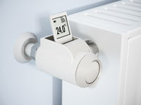 Smart thermostatic radiator valve with LCD screen. 3D illustration