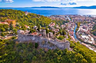 Trsat and Rijeka aerial panoramic view, historic old town