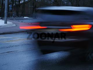 traffic lights car blurred motion