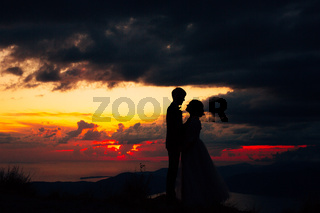 Silhouettes of the bride and groom holding hands at dusk, standing on the seashore