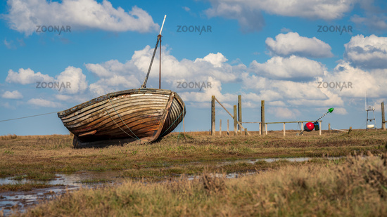 A boat in Thornham Old Harbour, Norfolk, England
