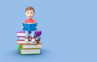 Young Kid Reading on a Stack of Books on Blue with Copy Space 3D Illustration