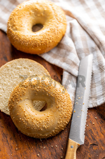 Baked bagel with sesame seeds.