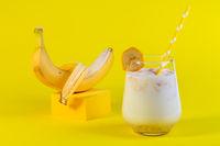 Healthy banana drink with oatmeal milk.