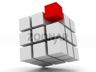 cube white assembling from blocks