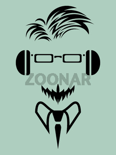 faceless man with beard in eyeglasses and headphones