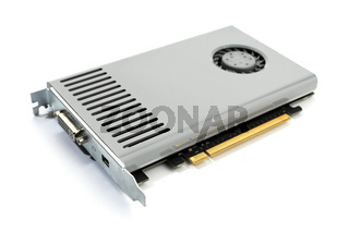 Modern computer graphic card isolated on white background