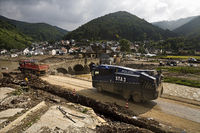 Flood disaster 2021, clean-up work on the badly destroyed redwine road, Rech, Germany, Europe