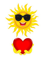 The sun with glasses and with a heart in his hands