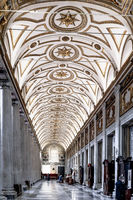 Coffered ceiling of the right aisle of the Basilica of Santa Maria Maggiore in Rome in Italy