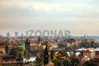 Overview of old Prague from Charles bridge