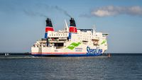 A ferry leaving the harbour in Rostock, Mecklenburg-Western Pomerania, Germany