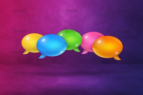 multicolor speech bubbles on purple background