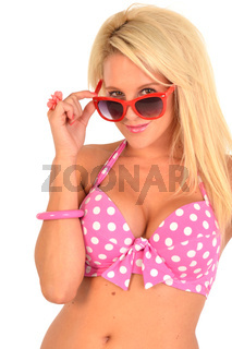 Sexy blonde with red sunglasses