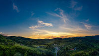 sunset over the village of Zupkov in central Slovakia
