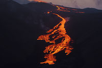 lava is flowing into the valley