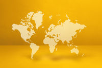 World map on yellow wall background. 3D illustration