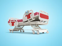 Modern red hospital bed with lifting mechanism on the control panel 3d render on blue background wit