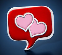 Speech balloons with heart icons on blue background. 3D illustration