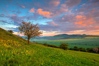 Amazing sunrise in the Central Bohemian Uplands, Czech Republic.