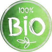 green watercolor 100 percent Bio label or stamp