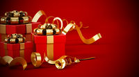 Giftboxes wrapped with gold ribbons standing on red background. 3D illustration