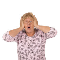 Elderly woman with head ache