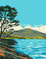 Inveruglas Isle in Loch Lomond and the Trossachs National Park Scotland UK Art Deco WPA Poster Art