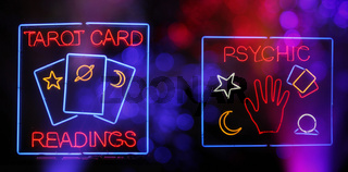 Tarot Card and Psychic Readings Neon Sign Composite Photograph