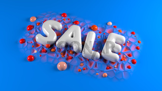 sale bright white glossy letters on a blue abstract background with spheres around. 3d illustration