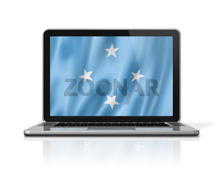 Micronesian flag on laptop screen isolated on white. 3D illustration