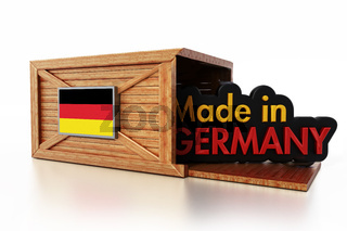 Made in Germany text inside cargo box with German flag. 3D illustration