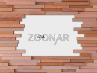 3d rendering image of cubic wooden wall