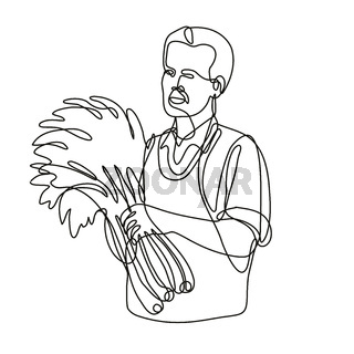 Green Grocer Holding Produce Front View Continuous Line Drawing