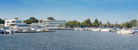 Panoramic picture of the Senftenberg city harbor