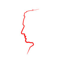 Red detailed realistic mans face profile in single line on white