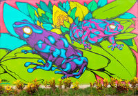 Panama David, mural representing two spotted frogs