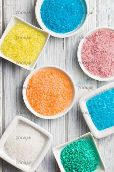 different colours of bath salt