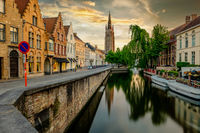 Bruges cityscape with Church of Our Lady