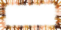 Panorama Banner mit Rahmen vielfältiger transparenter Hände