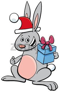cartoon rabbit animal character with gift on Christmas time