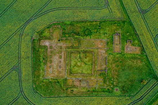 Drone view of Aebelholt Abbey Ruins, Denmark