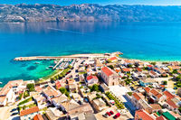 Razanac. Historic town of Razanac and Velebit channel aerial view