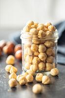 Peeled roasted hazelnut kernels.