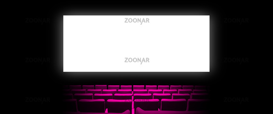 Cinema movie theatre with pink seats and a blank white screen. Horizontal banner