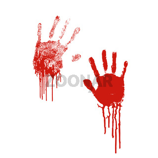 Bloody silhouettes of human palm prints with blood stains on white