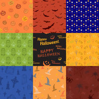 Nine Halloween texture pattern collection set
