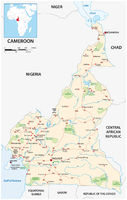 Vector road map of the West African state of Cameroon