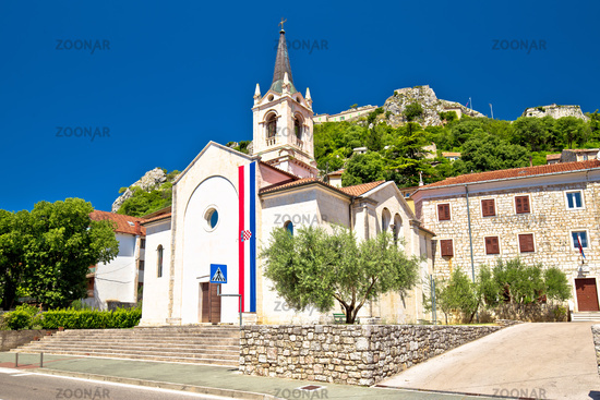 Town of Knin and Church and fortress street view