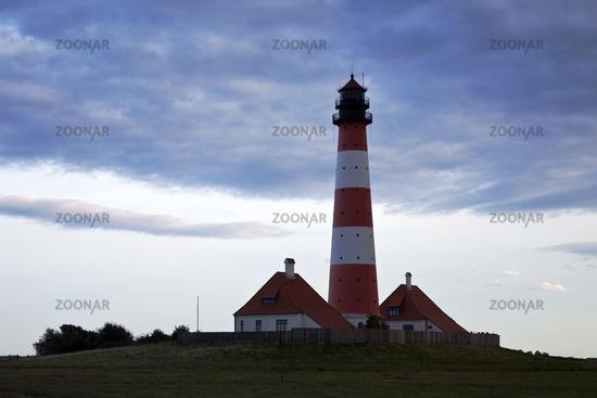 Westerhever lighthouse, Wadden Sea National Park, North Sea, North Frisia, Germany, Europe